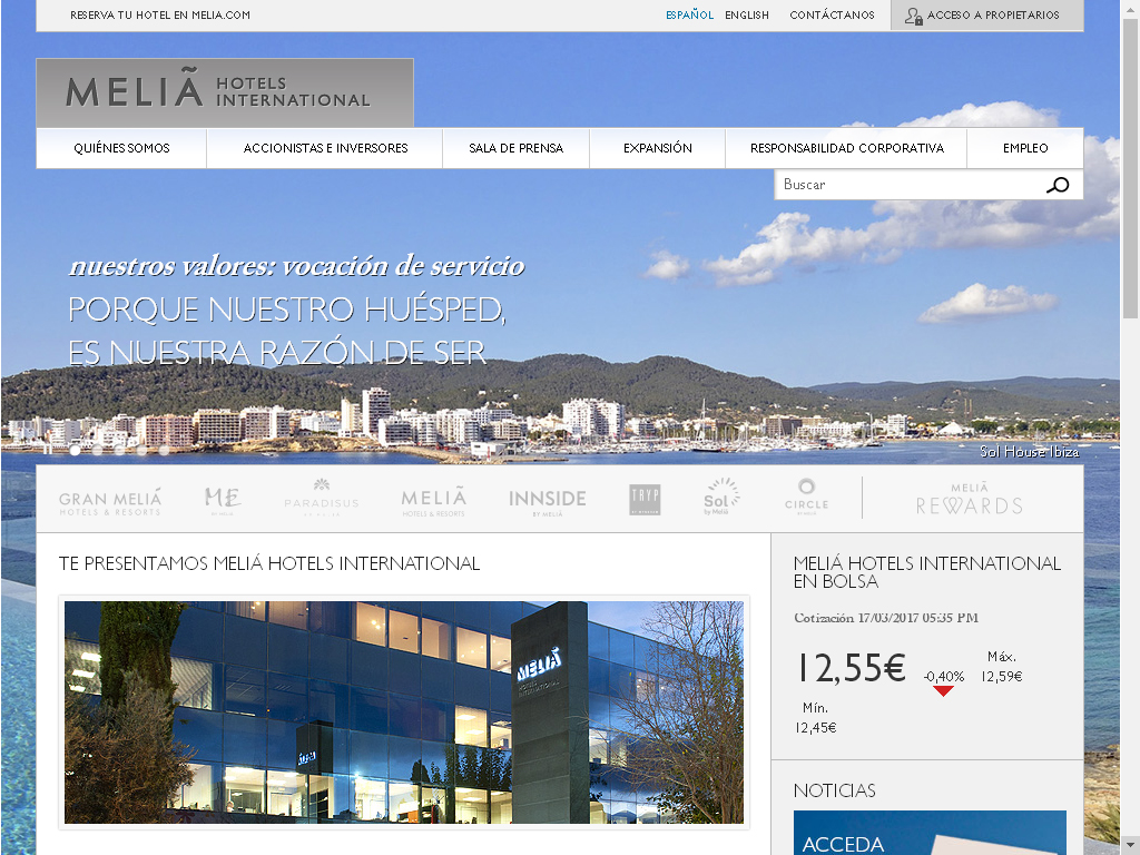 Melià Hotels International estrena un nuevo portal multidispositivo y orientado al servicio al cliente