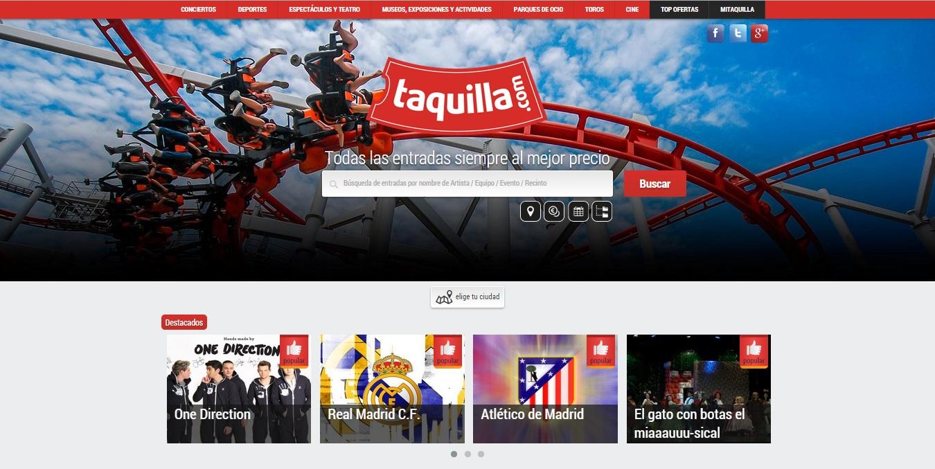 Taquilla.com vende entradas por valor de más de un millón de euros en sus primeros 6 meses online