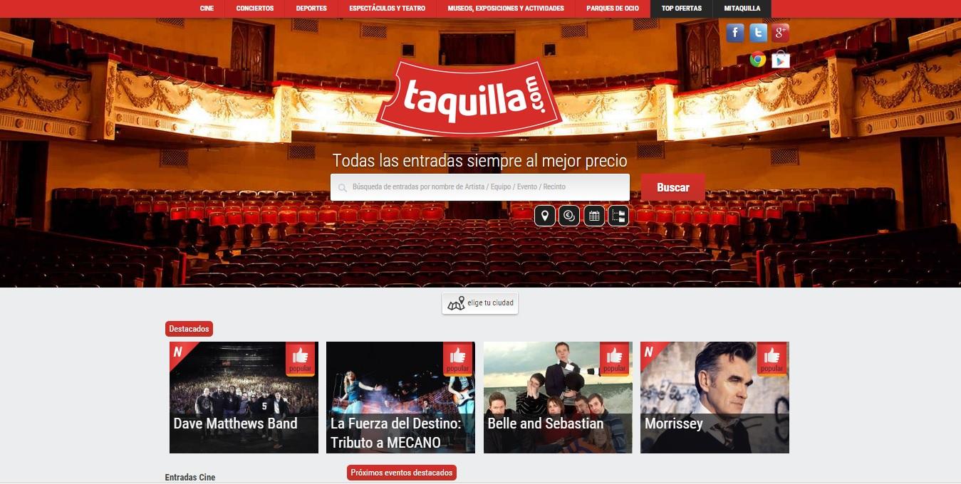 Taquilla.com vende entradas por valor de más de 3 millones de euros en su primer año online