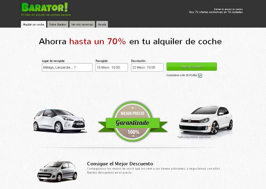 Barator.com lleva el modelo de los descuentos online al alquiler de coches